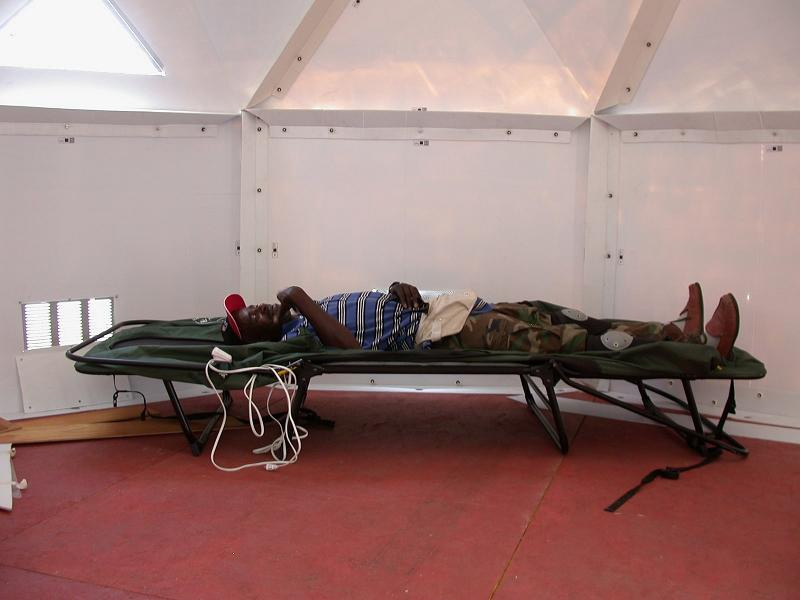A volunteer takes a rest in the U-Dome200